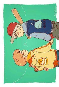 Yoonmin Fanart, Boy Drawing, Bts Fans, Kpop Fanart, Jikook, Bts Jimin, Cartoon Art, Art Inspo, Taehyung