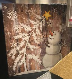 50 Creative Snowman Christmas Decoration Ideas - My Design Fulltimetraveler Christmas Canvas, Pallet Christmas, Christmas Paintings, Rustic Christmas, Christmas Projects, Vintage Christmas, Snowman Christmas Decorations, Christmas Mantels, Christmas Signs