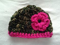 Girl's camo hat with pink flower, girl's camoflage hat baby toddler youth adult, camoflage hot pink fuschia,  camo and pink, girly camo on Etsy, $14.00