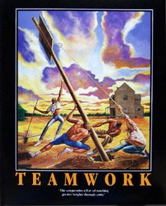 TEAMWORK Motivational Basketball Poster Print by Artist Ernie Barnes - available at www.sportsposterwarehouse.com