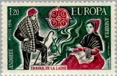 Shepherd, fireplace, wool spinner