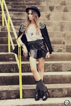 FashionCoolture - 10.02.2013 look du jour Choies blazer beaded hat studded outfit (7)