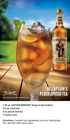 The Captain's Peach Spiced Tea with Captain Morgan Original Spiced Rum is a simple, delicious cocktail to spice up your summer.