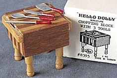 Vintage Dollhouse Wooden Butcher Block