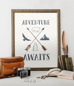 """Adventure awaits."" An adorable printable with lovely, subtle navy blue typography and nature elements."