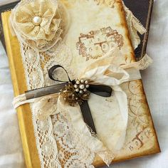 Vintage inspired Wedding Guest book  Gold by youruniquescrapbook, £120.00