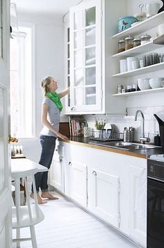 Small White Cottage Kitchens | White Cottage kitchen Ideas | cabinets to the ceiling, shelving in the kitchen