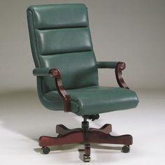 Triune Business Furniture Executive Chair Upholstery Color: Black, Frame Finish: Walnut, Tilt Mechanism: Tilt Lock Not Included