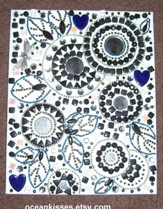 """8"""" X 10"""" canvas mosaic, mixed media, beaded painting with round mirrors."""