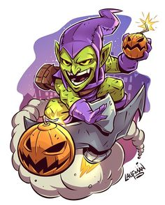 "760 curtidas, 3 comentários - Derek Laufman (@dereklaufman) no Instagram: ""Chibi Green Goblin! Check out all my new prints and sale going on right now at www.dereklaufman.com…"""
