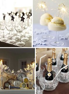 Cute ideas for New Years Eve party, especially the mini champagne cups! New Years Wedding, New Years Eve Weddings, New Years Party, New Years Eve 2017, New Years Eve Day, Champagne Birthday, Mini Champagne, Champagne Bottles, New Year's Eve Celebrations