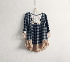 Navy Blue Plaid Upcycled Blouse Shabby by BrokenGhostClothing