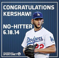 No.22 in the Dodgers History books No-hitter belongs to Clayton Kershaw #22