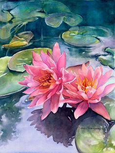 Fine Art Giclee Reproduction of my original watercolor painting titled Lotus Ref. - Fine Art Giclee Reproduction of my original watercolor painting titled Lotus Reflections. My repro - Watercolor Lotus, Lotus Painting, Lily Painting, Watercolor Flowers, Painting Walls, Drawing Flowers, Easy Watercolor, Painting Art, Watercolor Landscape