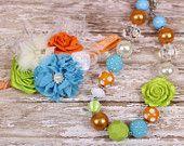 SALE - Turquoise, Green and Orange Necklace Headband Set $11.99+