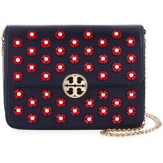 Tory Burch Duet Embellished Convertible Chain Shoulder Bag ($431) ❤ liked on Polyvore featuring bags, handbags, shoulder bags, studded shoulder bag, blue studded handbag, convertible handbag, tory burch purse and convertible shoulder bag