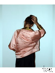Hand quilted snake bomber jacket.  Roxana Benea for Trei. endless-reflection.tumblr.com