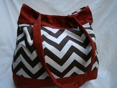 Chevy Bag  Brown and Natural Chevron/Zig Zag by ayokleyjessup, $50.00