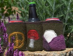 Hand Made Beverage Coozies!  Mama made in the USA using thrift store sweaters. http://www.hipmountainmama.com/habeco.html
