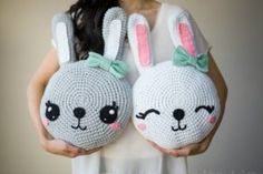 Snuggle Bunny Pillows, free pattern by All About Ami Crochet Gratis, Cute Crochet, Crochet For Kids, Crochet Dolls, Crochet Rabbit, Crochet Kits, Crochet Cushions, Crochet Pillow, Easter Bunny Crochet Pattern