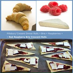 Pillsbury® Crescent Rolls +Red Raspberries + Brie = Red Raspberry Brie Crescent Rolls 15 Delicious Things You Can Stuff In A Crescent Roll Pillsbury Crescent Recipes, Crescent Roll Recipes, Crescent Rolls, Pillsbury Croissant, Snack Recipes, Dessert Recipes, Cooking Recipes, Snacks, Kraft Recipes