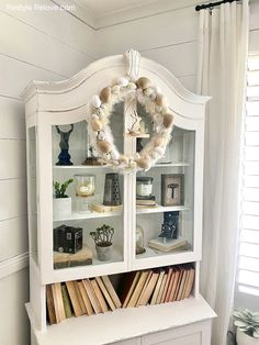 My 2021 Farmhouse Style Easter Home Tour Rustic Farmhouse, Farmhouse Style, Bookshelves, Bookcase, House Tours, Easter, Decorating, Cabinet, Storage