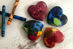 from broken to beautiful-  Save your broken crayons and melt them to make new shapes! We've got to do this!