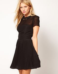 Oasis fit and flare dress black