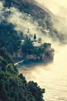 Morning mist on the beautiful Amalfi Coast