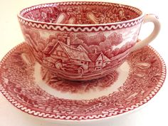 Adams English Countryside Cup Saucer Red White Toile Ironstone Landscape Vtg #Adams