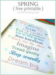 Spring Printable FREE download and Link Party - Craftionary