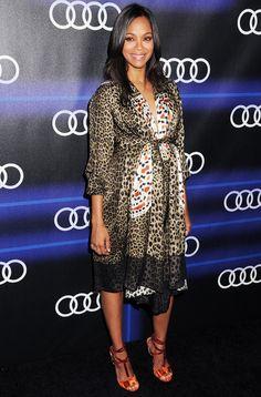 She's Got That Glow! Zoe Saldana Shows Off Her Baby Bump in a Leopard-Print Dress #InStyle