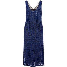 Proenza Schouler Cobalt And Black Open Crochet Knit Tank Dress ($2,790) ❤ liked on Polyvore featuring dresses, proenza schouler, see-through dresses, transparent dress, knee length dresses, scoop neck tank dress and sheer tank dress