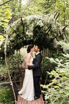 Gorgeous woodland bridge and arch for a beautiful wedding