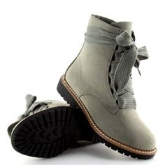 Botki sznurowane szare 8308 Grey 6 Lace Up Heels, Suede Heels, Play Shoes, Pumps, Sneaker Boots, Cool Boots, Short Boots, Chunky Heels, Timberland Boots