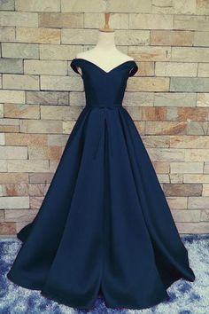 Dark blue chiffon off-shoulder A-line long dress,floor-length evening dress