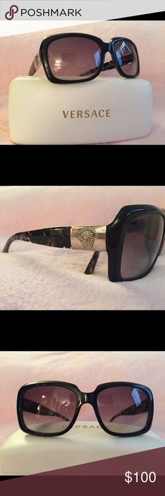 Versace Sunglasses with Case Versace black/tortoise shell frames. Dark ombré lenses. Big silver Versace logo. Made in Italy. Great condition. White Versace case included with soft wipe. Classic, high fashion frames. Timeless style. Excellent used condition.  MOD 4190.  GB1/11. 58[]16. 135 2N. Versace Accessories Sunglasses