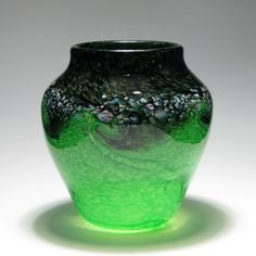 Perthshire Green and Black Glass Vase