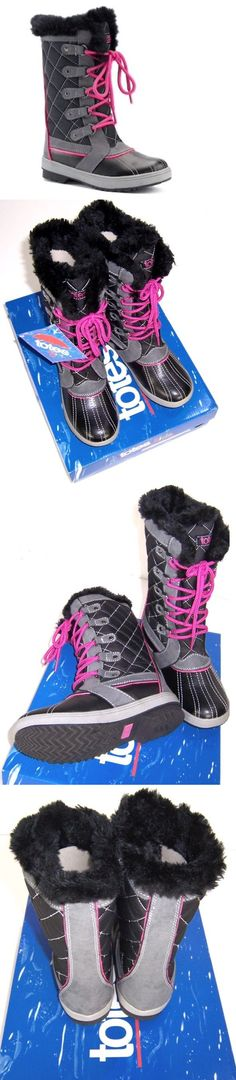 bfb8b7e506887 Girls Shoes 57974  Totes Girls Sabrina Winter Snow Boots Nib Black Gray  Pink Size 12