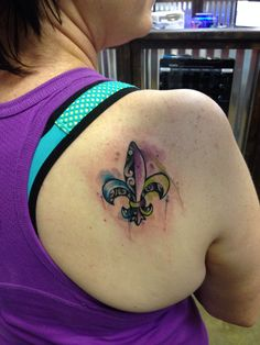 Watercolor fleur de lis tattoo. Love!