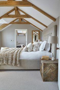 Bedroom Ideas 77 Modern Design Ideas For Your Bedroom: Stunning Modern Farmhouse Style Bedroom Decor Ideas Cozy Bedroom Design, Country Style Bedroom, Barn Conversion Interiors, Simple Bedroom Decor, Minimalist Bedroom, Home, Farmhouse Style Bedroom Decor, Simple Bedroom, Home Decor