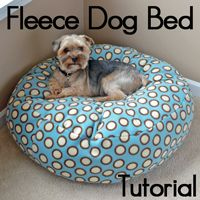 Read below to learn how to make this cute fluffy fleece dog bed!I've made... four of these now? At least four. Anyway, you can make these all different heights and diameters (π is your friend). Loki already loves it, he's sleeping on it right now under my desk. Looks like I'll need another since this one was intended for the bedroom... The little sister likes it too, so we may need a few more.