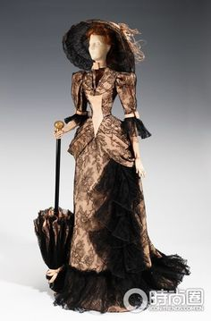 ca. 1892 Black Peony lace dress with hat and parasol .... Charles Worth Collection