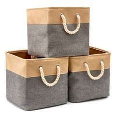 EZOWare Collapsible Storage Bins Basket Foldable Canvas Fabric Tweed Storage Cubes Set with Handles for Babies Nursery Toys Organizer x 13 x 13 inches) (Gray/Beige) * Learn more by visiting the image link. (This is an affiliate link) Kid Toy Storage, Laundry Room Storage, Under Bed Storage, Cube Storage, Storage Boxes, Storage Baskets, Underbed Storage Ideas, Container Organization, Toy Organization