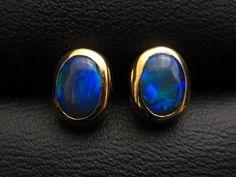 Black opal studs
