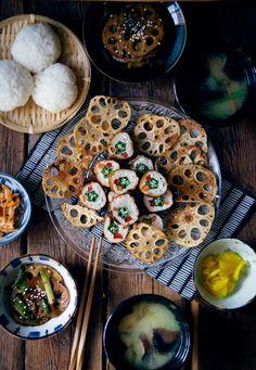 Japanese menu - chicken okra rolls and lotus chips Japanese Food Sushi, Japanese Menu, Japanese Dishes, Japanese Chicken, Okra, Asian Cooking, Street Food, Asian Recipes, Love Food