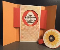 Stampin' Friends blog hop-- all about Fall! Autumn Harvest Gatefold Shutter Surprise Card with directions and measurements!