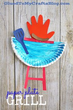 Paper Plate Grill w/Handprint Flame – Kid Craft Idea For Summer - Craft World Daycare Crafts, Toddler Crafts, Preschool Crafts, Kids Crafts, Arts And Crafts, Kids Fathers Day Crafts, Preschool Christmas, Toddler Art, Daycare Ideas