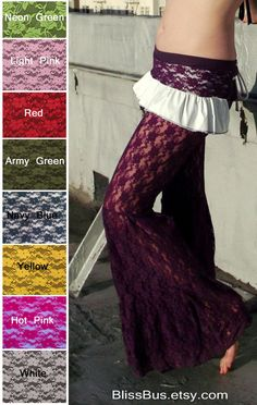 Purple Lace Pants Bell Bottom Stretch Flares by BlissBus on Etsy