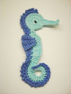 Isn't this an adorable little seahorse motif?    1 seahorse for girl or boy applique crocheted